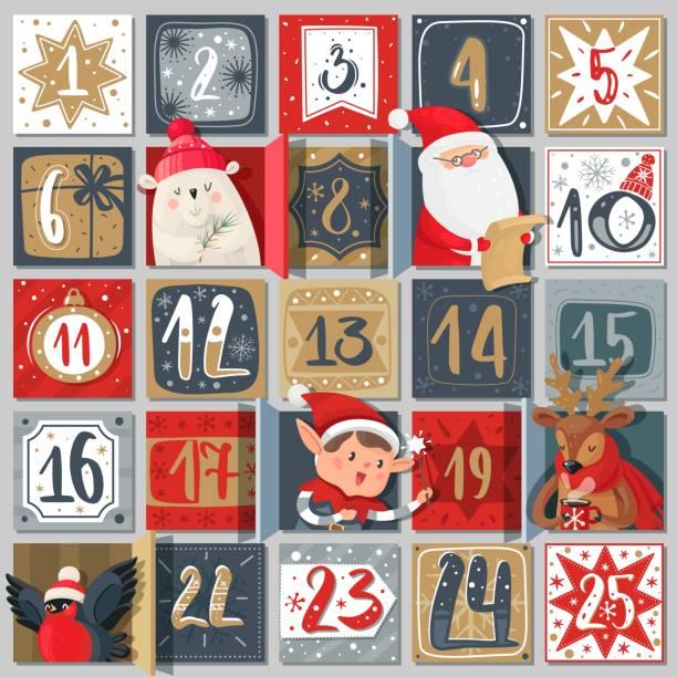 illustrations, cliparts, dessins animés et icônes de calendrier de l'avent. affiche de vacances d'hiver, dates décembre événements festifs avec des caractères de noël, santa, cerf et ours dans la fenêtre avec l'ornement rouge et or couleurs carte postale vecteur modèle créatif - calendrier de l'avent