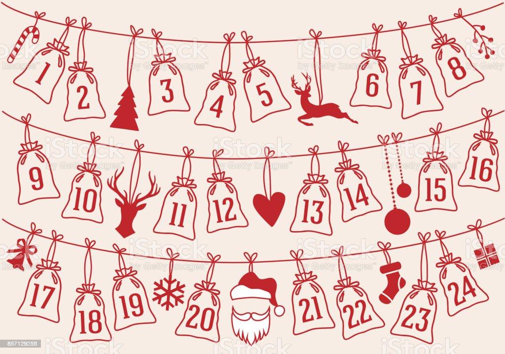 Calendario de Adviento con las bolsas de Navidad, set de vectores - ilustración de arte vectorial