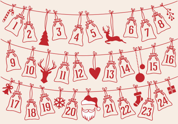 advent calendar with christmas bags, vector set - advent stock illustrations