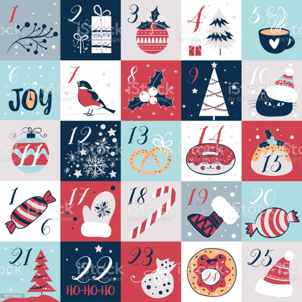 Advent calendar with Christmas elements. Holidays poster, vector illustrations vector art illustration