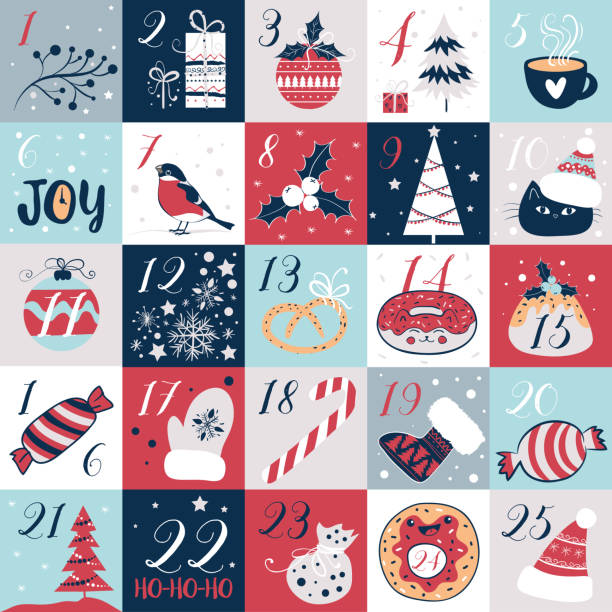 advent calendar with christmas elements. holidays poster, vector illustrations - advent stock illustrations