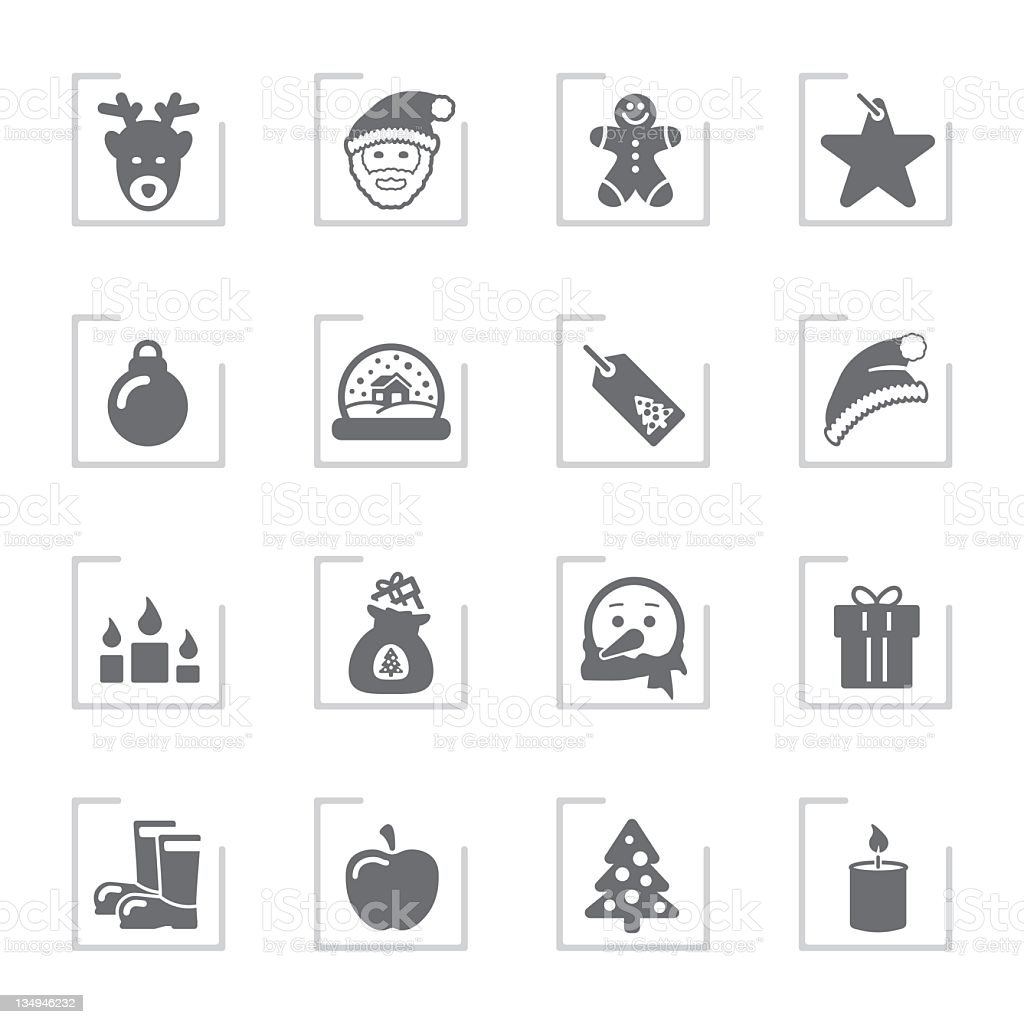 Advent & Christmas Icons | Framed Grey royalty-free advent christmas icons framed grey stock vector art & more images of advent