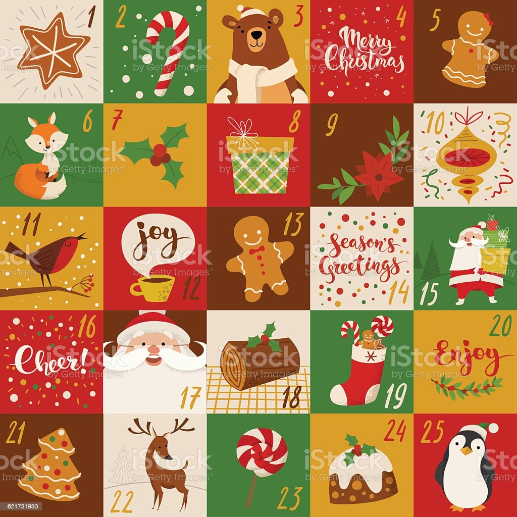 Advent Christmas vector calendar holiday characters and handwritten text. - Illustration vectorielle