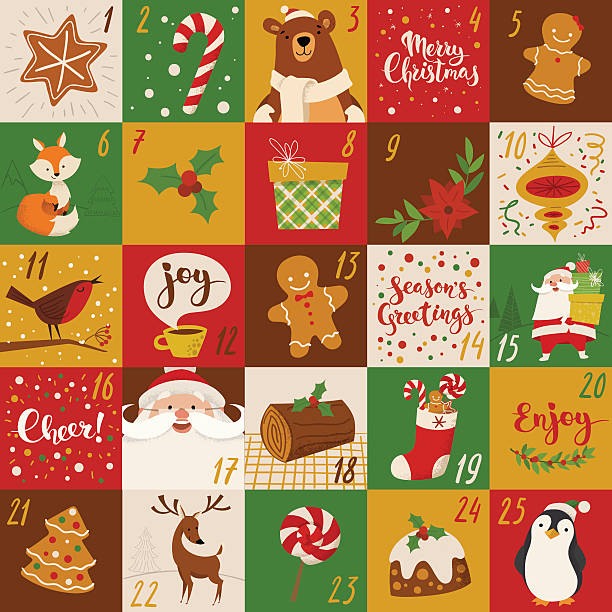 ilustraciones, imágenes clip art, dibujos animados e iconos de stock de advent christmas vector calendar holiday characters and handwritten text. - calendario de animales