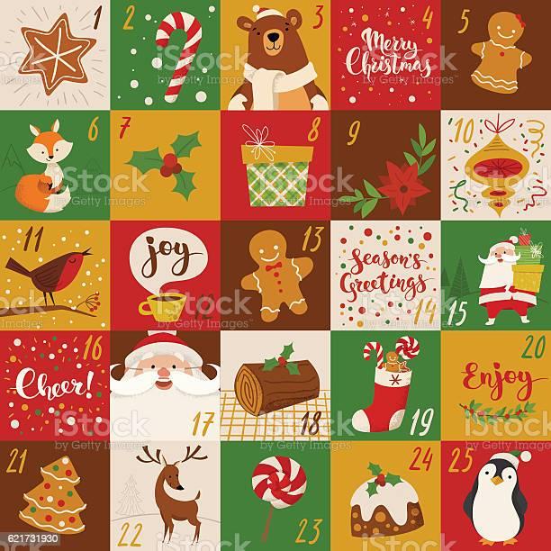 Advent Christmas Vector Calendar Holiday Characters And Handwritten Text Vecteurs libres de droits et plus d'images vectorielles de Affiche