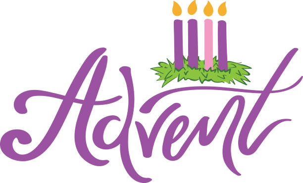 advent script with wreath illustration - advent stock illustrations