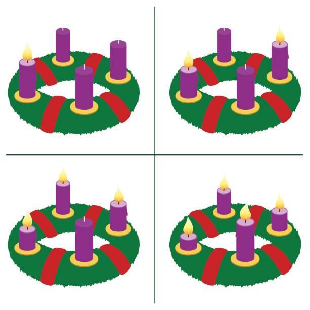ilustrações, clipart, desenhos animados e ícones de coroa do advento em primeiro, segundo, terceiro, quarto domingo do advento - com um, dois, três e quatro velas acesas em comprimentos diferentes, dependendo do tempo de queima em ordem cronológica. vetor em branco. - advento