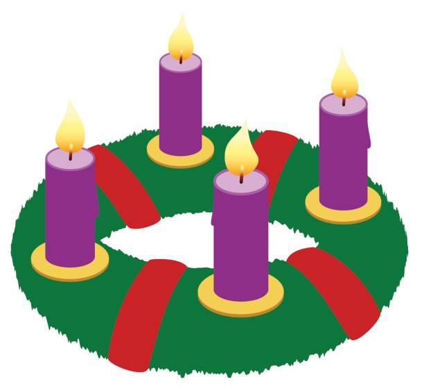 Corona de Adviento con velas púrpura y lazos rojos - ilustración de vector icono aislado sobre fondo blanco. - ilustración de arte vectorial