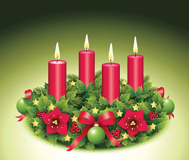 ilustraciones, imágenes clip art, dibujos animados e iconos de stock de advent corona con cuatro quemar velas - adviento