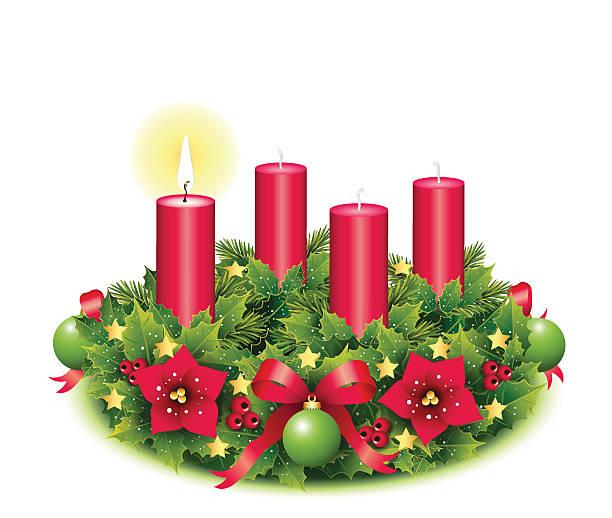 ilustraciones, imágenes clip art, dibujos animados e iconos de stock de advent con una corona de quemar velas - adviento