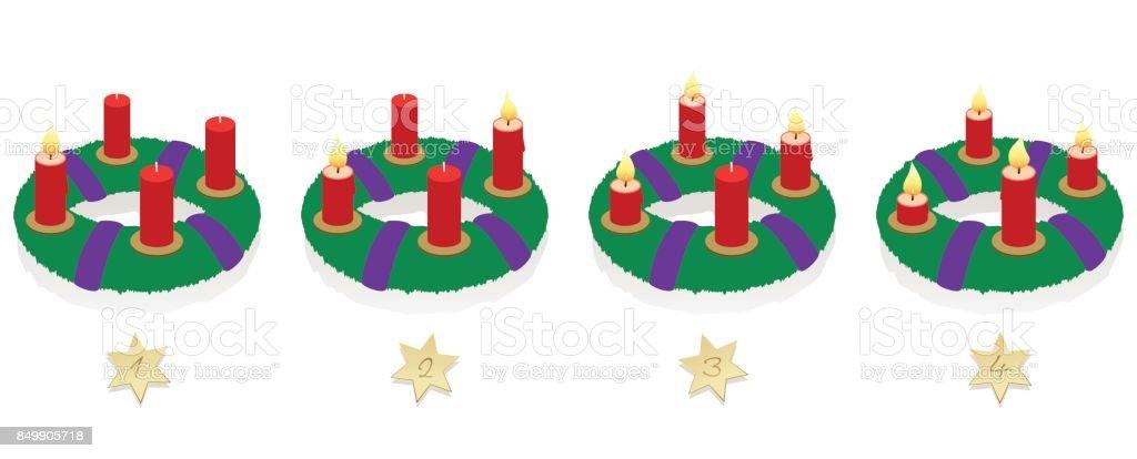 Corona de Adviento con uno, dos, tres y cuatro iluminado rojo velas en diferentes longitudes dependiendo de la duración de la combustión en orden cronológico, en primer lugar, segundo, tercer y cuarto domingo de Adviento. - ilustración de arte vectorial