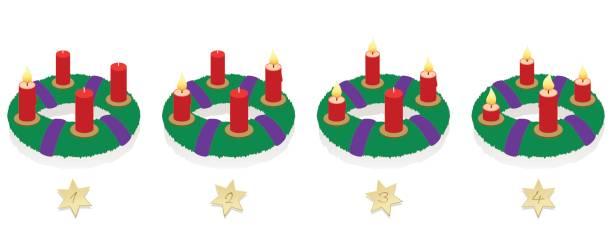 ilustraciones, imágenes clip art, dibujos animados e iconos de stock de corona de adviento con uno, dos, tres y cuatro iluminado rojo velas en diferentes longitudes dependiendo de la duración de la combustión en orden cronológico, en primer lugar, segundo, tercer y cuarto domingo de adviento. - adviento