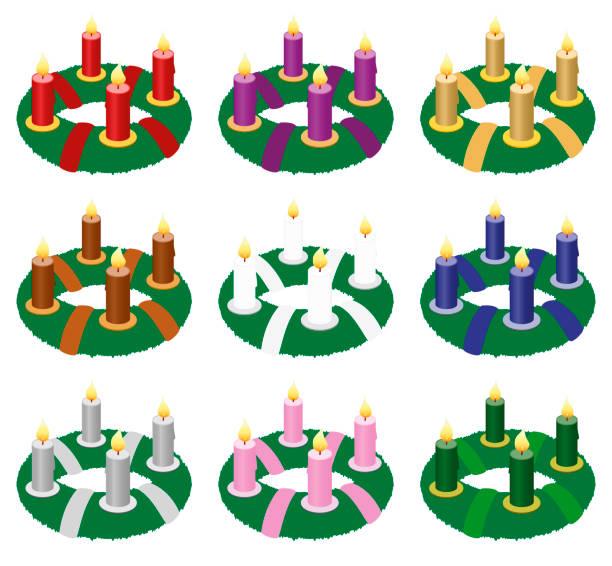 Coronas de Adviento con velas ardiendo y las cintas - más populares y queridos colores a elegir para este vector de años llegada temporada - rojo, púrpura, oro, marrón, blanco, azul, plata, rosa o verde - aislado en fondo blanco. - ilustración de arte vectorial