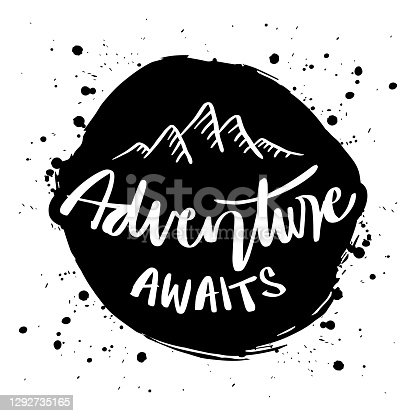 Adventure awaits hand lettering quote with mountains