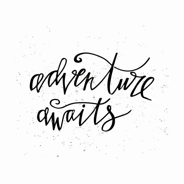 Adventure awaits- hand written lettering. Motivational travel family quote typography. vector art illustration