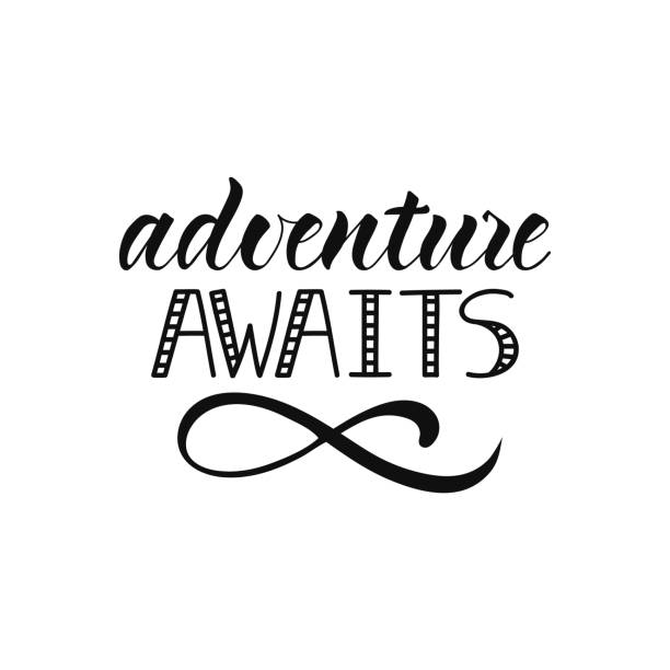 Adventure awaits. lettering design. typography for card, banner, poster, photo overlay or t-shirt design. vector art illustration