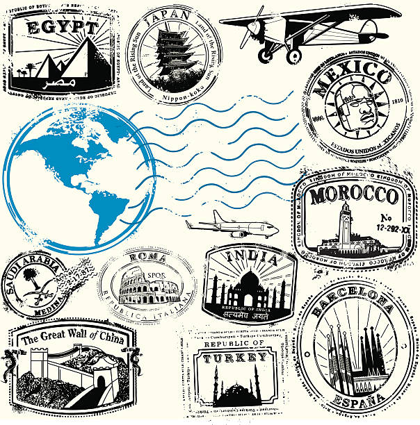 Adventure Awaits Series of stylized vintage travel related stamps from exotic destinations.  Map derived form public domain form the CIA, https://www.cia.gov/library/publications/the-world-factbook/docs/refmaps.html  Software used: AICS2, Photoshop CS2 2 layers.  Created: 06_09  [url=http://www.istockphoto.com/file_search.php?action=file&lightboxID=6310922][img]http://i710.photobucket.com/albums/ww101/ADCACDC/big-banner_newng.gif[/img][/url]  morocco stock illustrations