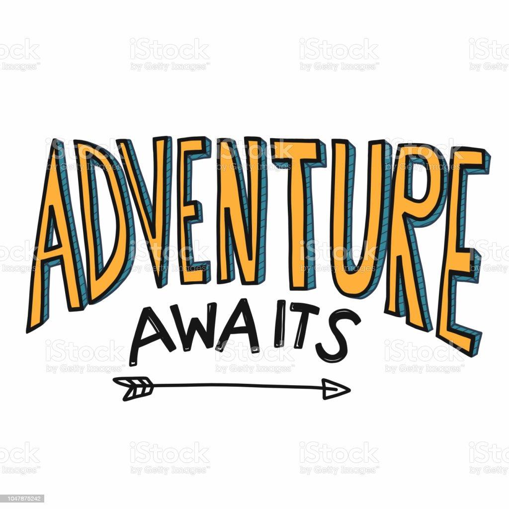 Adventure awaits word vector illustration yellow color cartoon font style vector art illustration