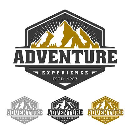 Adventure badge emblem, mountain icon emblem template