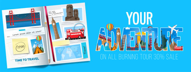 Adventure banner design, Stylish trip banner with opened album, photos, notes and stickers. Travel banner concept. Vector Adventure banner design, Stylish trip banner with opened album, photos, notes and stickers. Travel banner concept. Vector photo album stock illustrations
