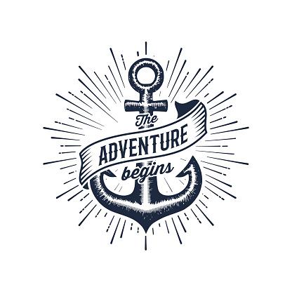 Adventure begins blue anchor