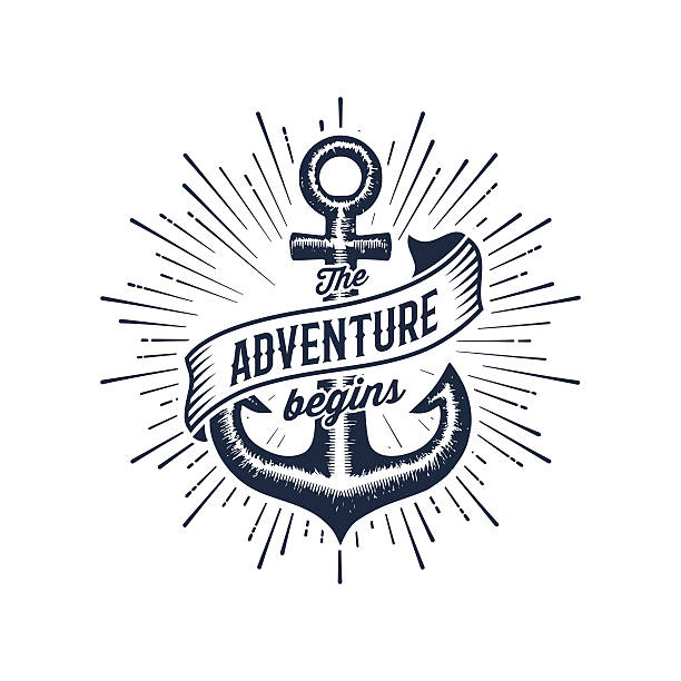 Adventure begins blue anchor vector art illustration