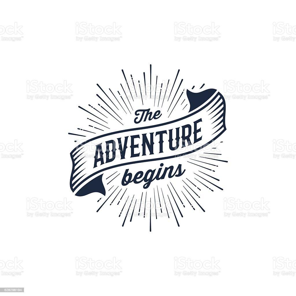 Adventure begins blue vector art illustration