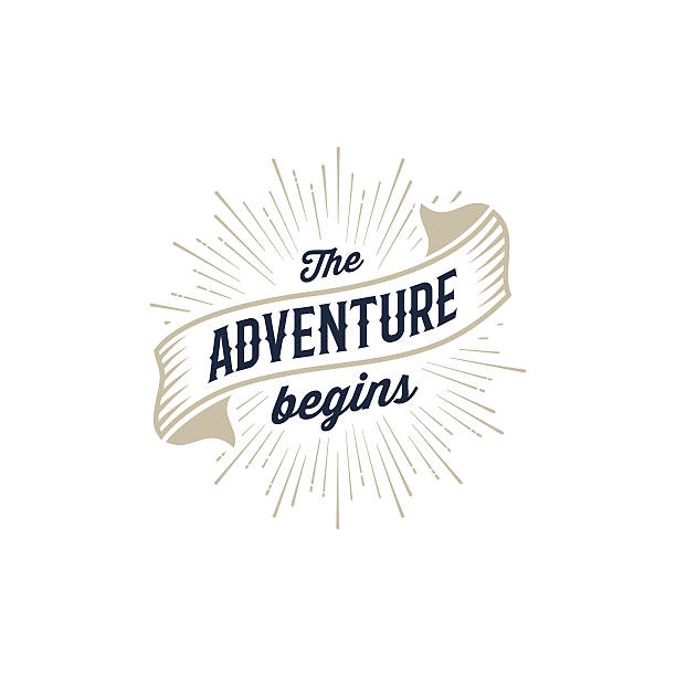 adventure begins gold - keşif stock illustrations