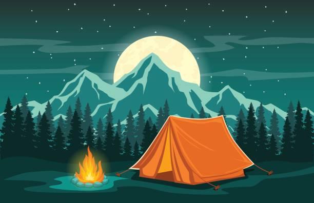 ilustrações de stock, clip art, desenhos animados e ícones de adventure camping night scene - camping