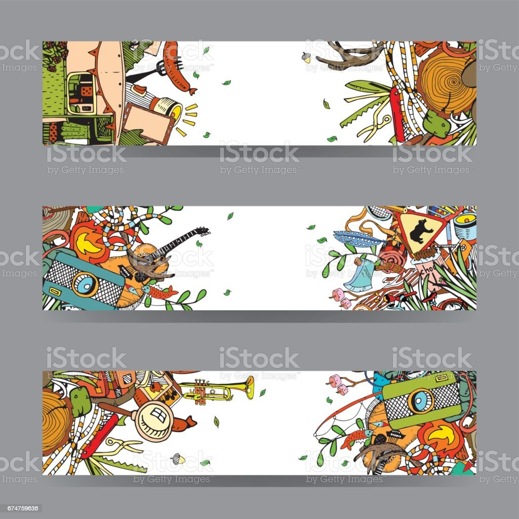 Adventure Camping Objects. Travel and Recreation Time Concept. Vector Cards and Banners with Doodles. vector art illustration