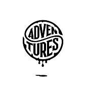Adventures. Handwritten circular calligraphy lettering for greeting cards, t-shirt print, posters. Vector illustration