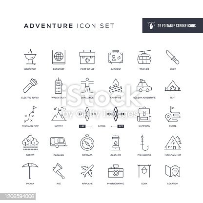 29 Adventure Icons - Editable Stroke - Easy to edit and customize - You can easily customize the stroke with