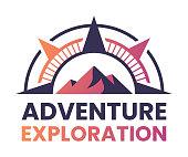 istock Adventure Exploration Mountain Compass Outdoor Badge Symbol 1316105586