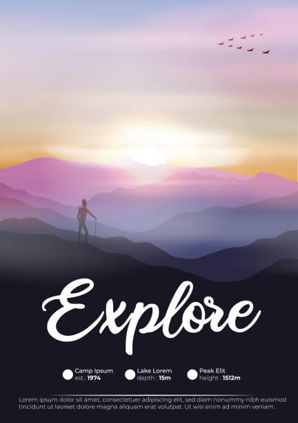 illustrations, cliparts, dessins animés et icônes de voyageur d'aventure avec le randonneur dans les montagnes et les oies volant dans la formation à l'aube - desastre natural