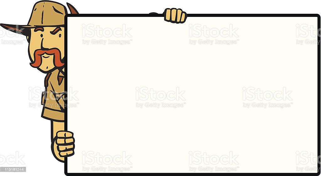 Adventure Guy Peeking Over Board royalty-free stock vector art