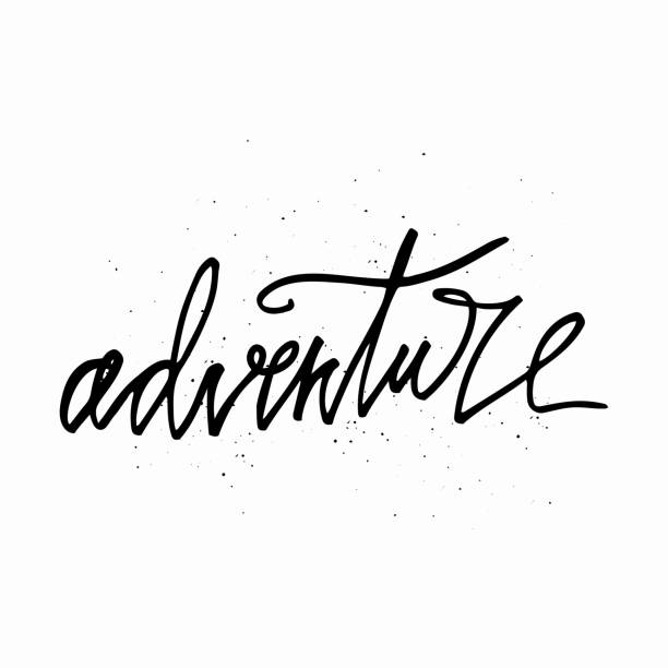 Adventure - hand written lettering. Motivational travel family quote typography. Inspirational quote. vector art illustration