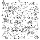 istock Adventure island map. Board game. Fantasy area games kit. Pirates, sea monsters, mountains and medieval city. Cartoon hand drawn sketch vector black line. 1205424359