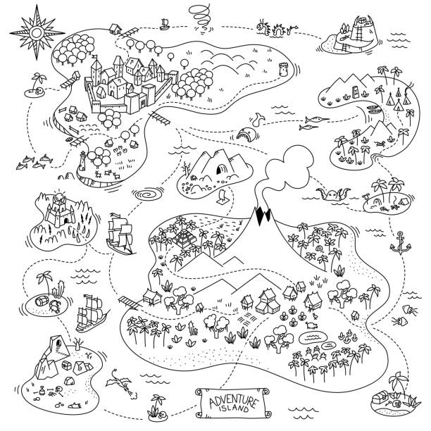 Adventure island map. Board game. Fantasy area games kit. Pirates, sea monsters, mountains and medieval city. Cartoon hand drawn sketch vector black line. Adventure island map. Board game. Fantasy area games kit. Pirates, sea monsters, mountains and medieval city. Cartoon hand drawn sketch vector outline black line. adventure drawings stock illustrations