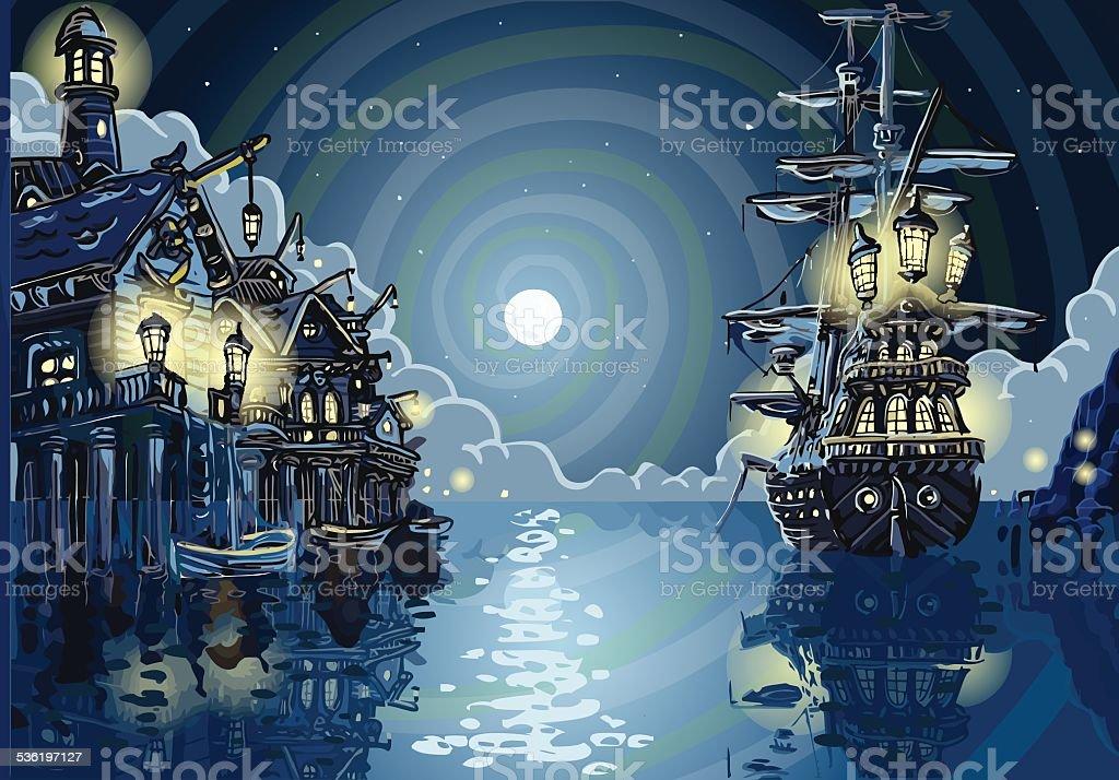 Adventure Island - Pirates Cove Bay vector art illustration