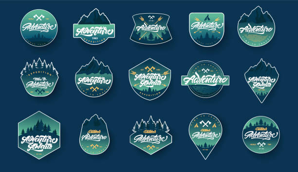Adventure lettering set logos or emblems with gradient. Vintage logotype with mountains, bonfires and arrows. Vector signs for your design. Adventure lettering set logos or emblems with gradient. Vintage logotype with mountains, bonfires and arrows. Vector signs for your design. adventure stock illustrations
