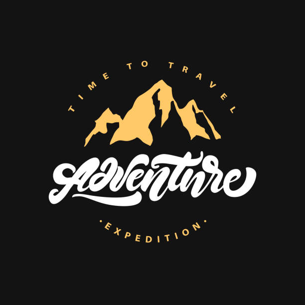 Adventure lettering symbol with and mountain. Expedition . Time to travel. Hipster symbol style. Vector illustration vector art illustration
