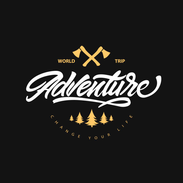 Adventure lettering symbol with axes and bonfire. Change your life . Time to travel. Hipster symbol style. Vector illustration vector art illustration