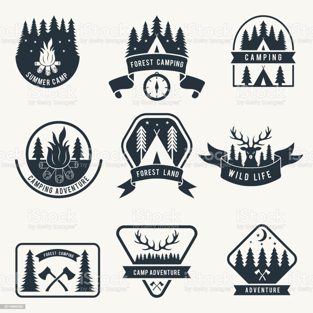 Adventure monochrome badges set. Silhouette of tent. Camping vector labels