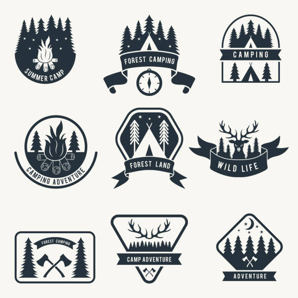 Adventure monochrome badges set. Silhouette of tent. Camping vector labels vector art illustration