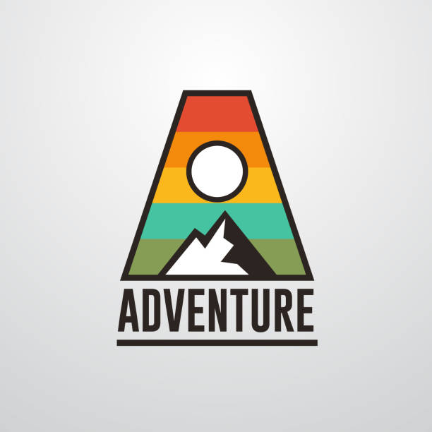 Adventure mountain badge logo template with initial A Adventure logo template wilderness stock illustrations