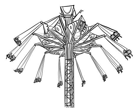 A carnival swing in operation