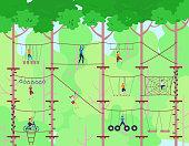 Adventure rope park vector illustration. Children have sport activity on adventure playground. Adventurous kids in rope park climbing high wood ladder. Extreme ropewalk safety fun leisure green forest