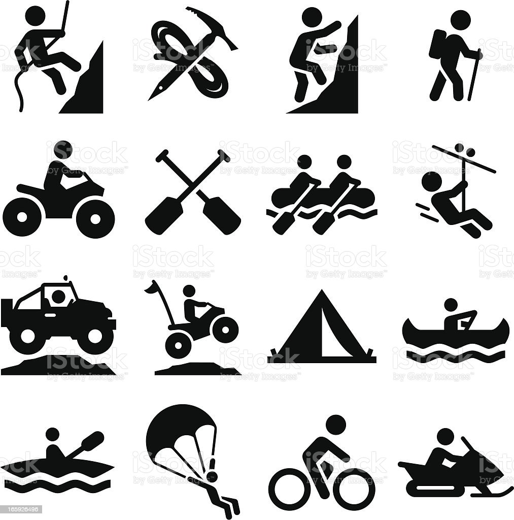 Adventure Sports Icons - Black Series vector art illustration
