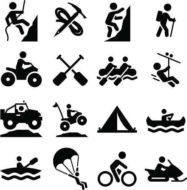 Adventure Sports-Icons-Schwarz-Serie – Vektorgrafik