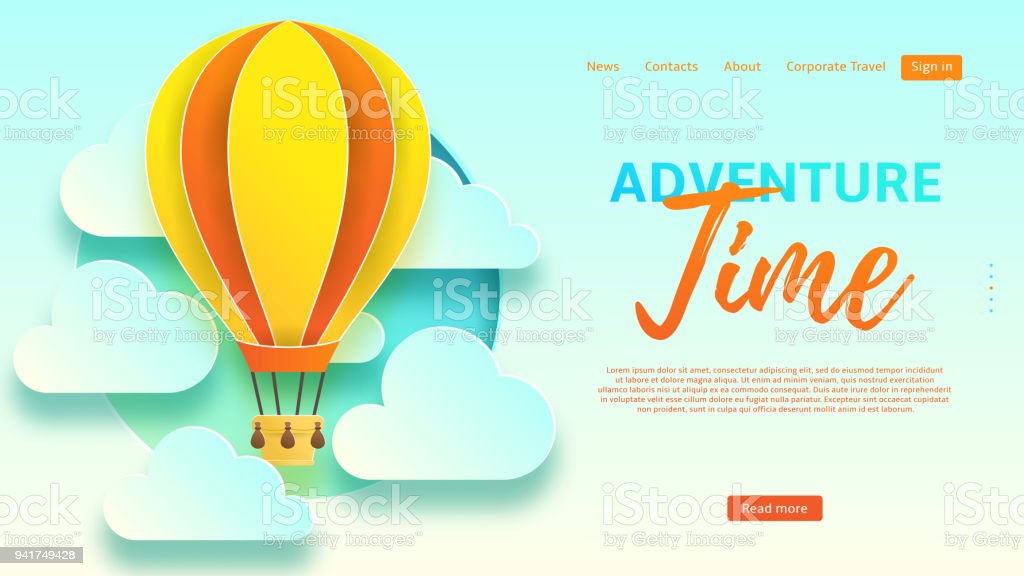 Adventure Time Web Banner Template Royalty Free Stock Vector Art